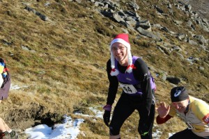 Santa 'Goldilocks' Mallon approaches the second col